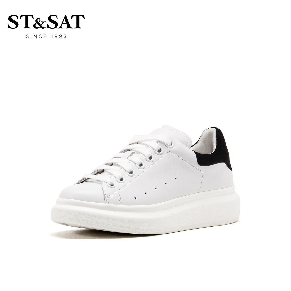 st&sat/星期六新款圆头中跟深口93112256小白鞋