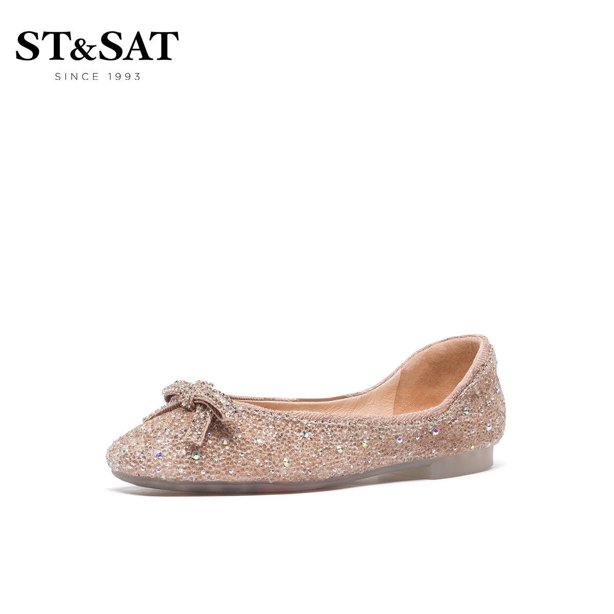 Saturday 2021 spring new sweet age-aged square casual shallow mouth single shoes female pink SS11111034