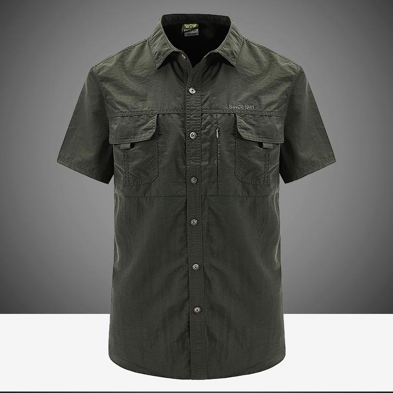 NIAN 吉普盾速干衬衫男短袖户外宽松休闲夏季薄半袖男士工装衬衣