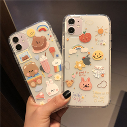 韩风ins小熊贴图iPhone11ProMax苹果12/XS/XR手机壳7/8plus软壳SE