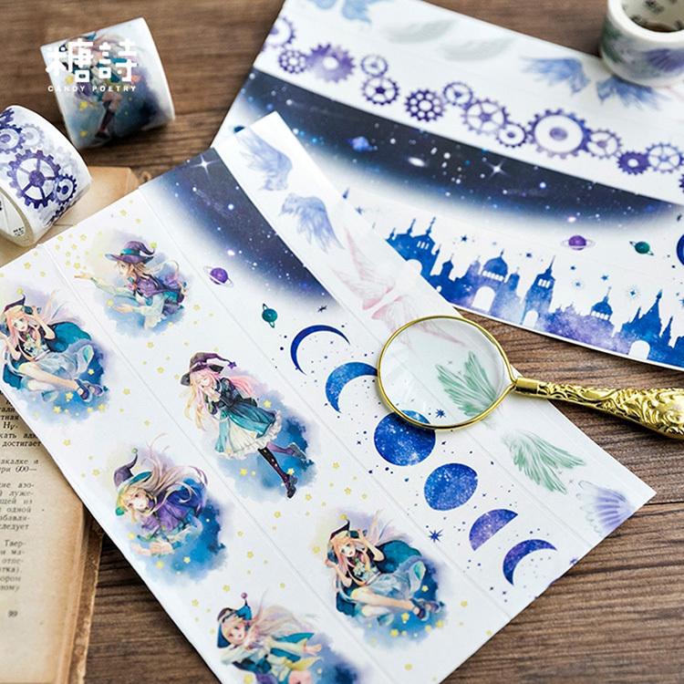 小魔女 梦的翅膀 和纸胶带整卷月相手帐人物女孩DIY齿轮贴纸手账