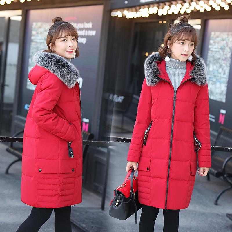 冬季新款中长款羽绒服时尚修身韩版羽绒服可拆大毛领连帽羽绒服
