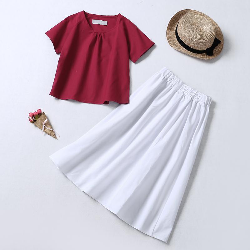 套装裙女短袖上衣半身裙两件套裙子简约拼色女装裙夏装新款7C440