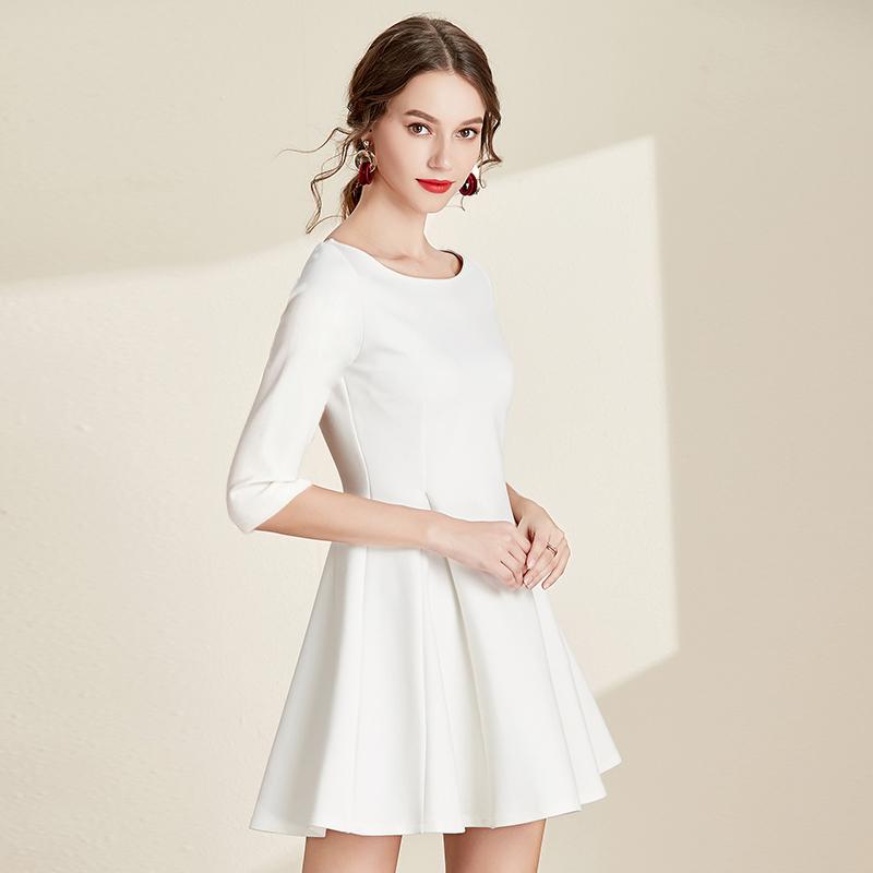 2020秋冬新款女装小白裙气质礼服白色短裙a型超仙修身显瘦连衣裙