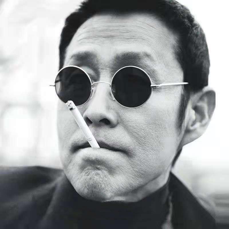 汉奸眼镜民国太子镜圆形偏光复古黑色墨镜男潮同款太阳眼镜