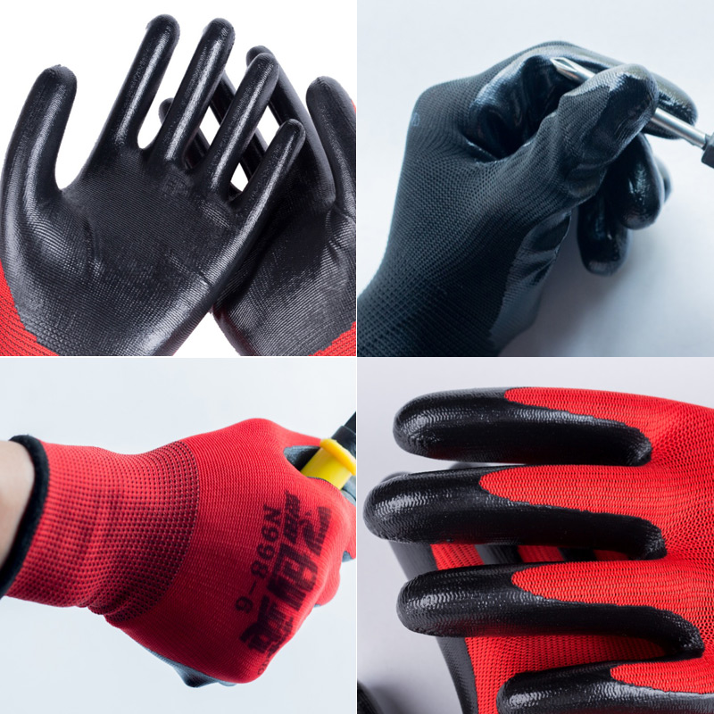 Gloves, labor protection, wear-resistant plastic machinery, thickened latex, waterproof work site, anti slip, warm and thin in winter