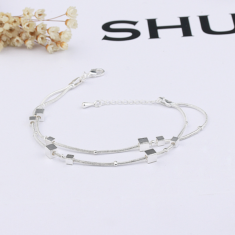 S925 silver double row square Bracelet small group simple small square geometric student lettering cube bracelet Jewelry