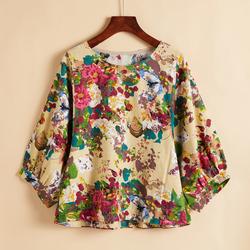 原创设计棉麻春夏女小衫民族风印花短新款宽松上衣衬衫七分袖T恤