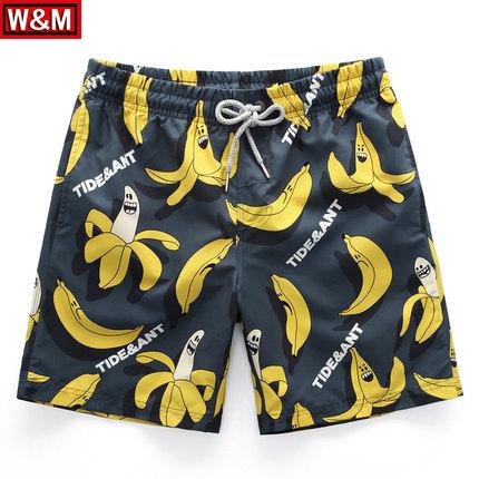 海边度假宽松速干沙滩裤男平角泡温泉泳裤香蕉印花五分大码短裤潮
