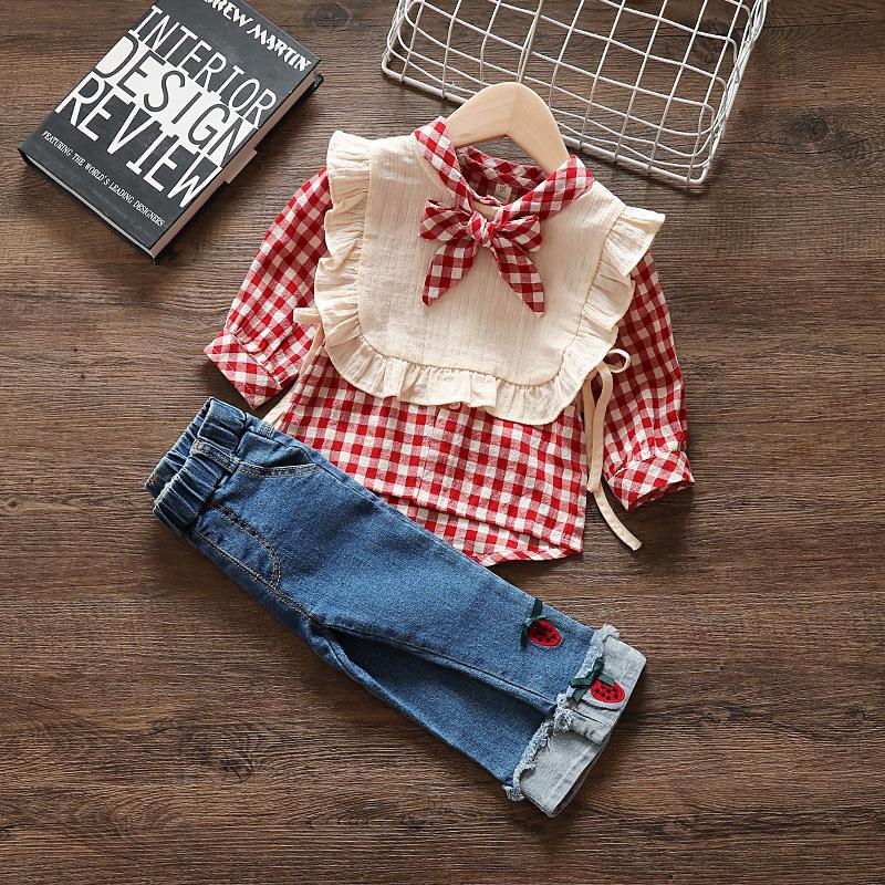 热销30件不包邮女童套装春格子衬衫2019新款秋1-5岁女宝宝两件套洋气牛仔裤3上衣