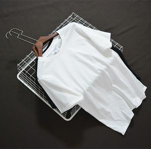 日系纯棉素色T恤男女短袖圆领打底衫纯色宽松情侣白色基础t