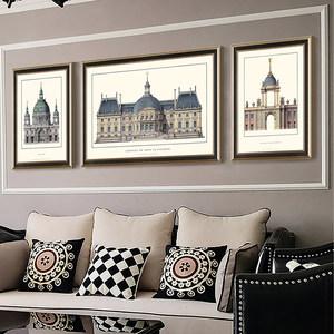 建筑墙画客厅家居挂画美式装饰画现代简美沙发背景墙壁画实木边框