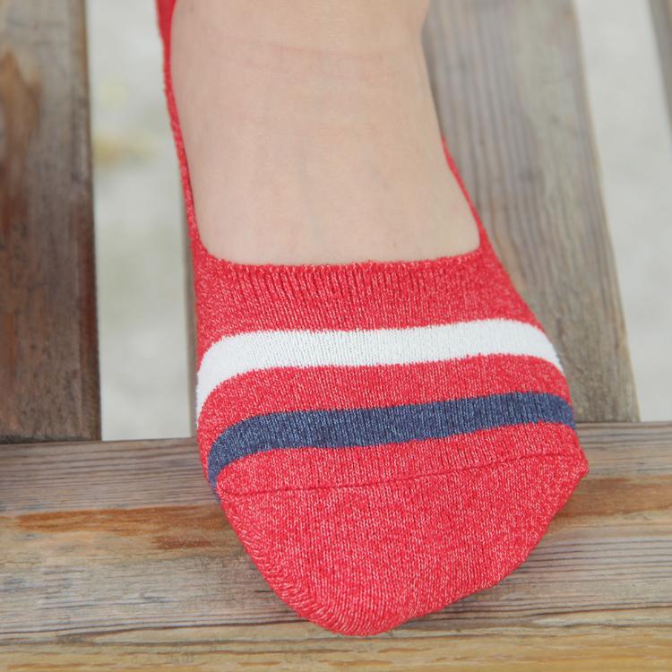 日系船袜二横杠条纹毛巾袜女袜防掉跟硅胶浅口隐形袜日本原单外贸