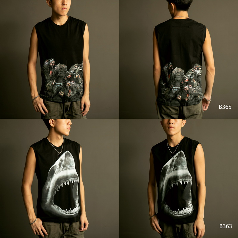 Summer clothes European and American street hip hop fashion brand dog head shark pattern printed cotton vest mens and womens trend loose couple