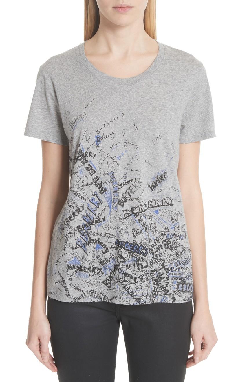 1美国代购包邮BURBERRY女装薄款透气纯棉上衣收腰圆领夏季短袖T恤