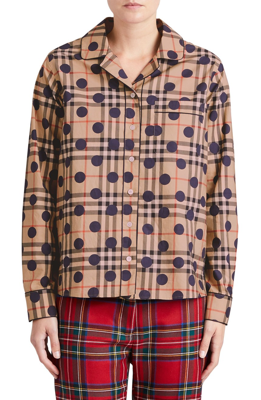 美国代购包邮BURBERRY女装新款拼色衬衣翻领单排扣直筒纯棉衬衫