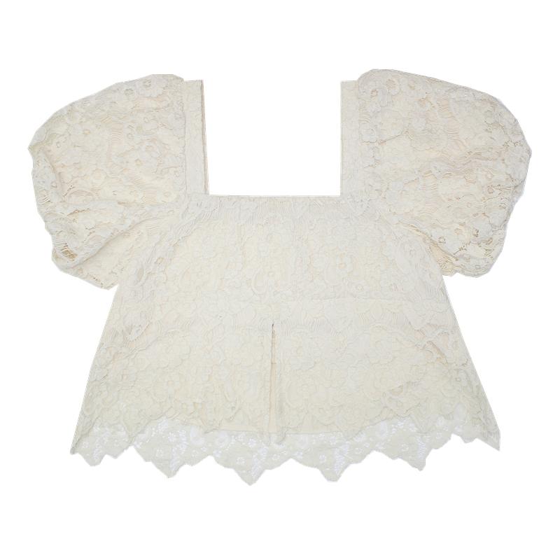 EVNSTYLE1号店 小众开叉设计方领短袖蕾丝小衫洋气内搭上衣女夏季