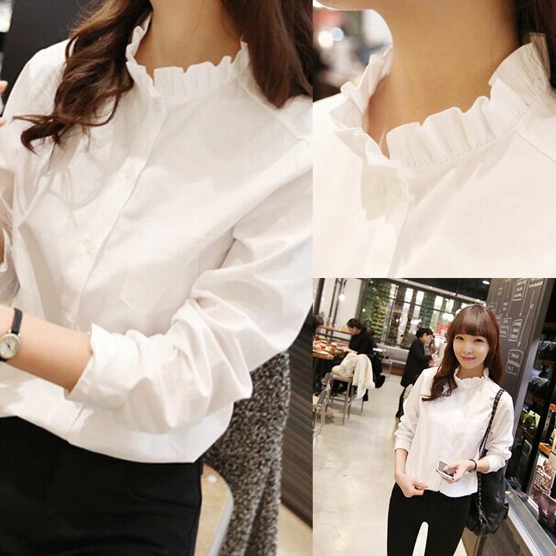 2016 лета и осени Корейской длинный рукав белые рубашки с большим студенческим женского грибок воротник Джокер играть топ дюймовый пальто хлопка