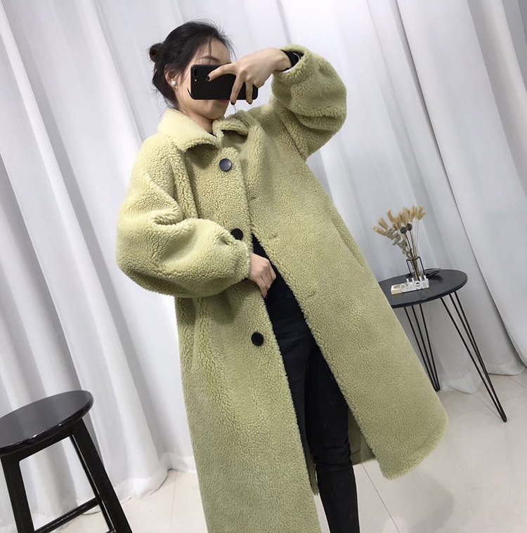 2020 new granular wool fur coat medium length womens thickened cashmere coat silhouette leisure