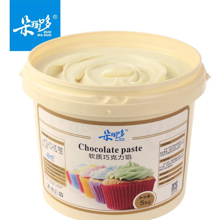 牛奶软质白巧克力酱软馅甜甜圈淋酱蛋糕淋面商用烘焙专用5kg桶