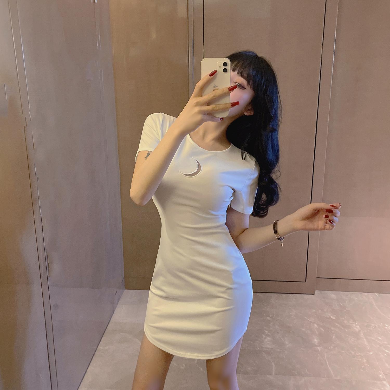 58051#控价36 新款圆领短袖修身纯色连衣裙港风ins打底A字包臀裙