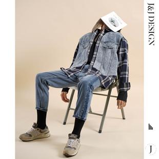 假两件拼接复古牛仔外套男ins潮加厚 JNJ韩版 男长袖 潮流格子衬衫