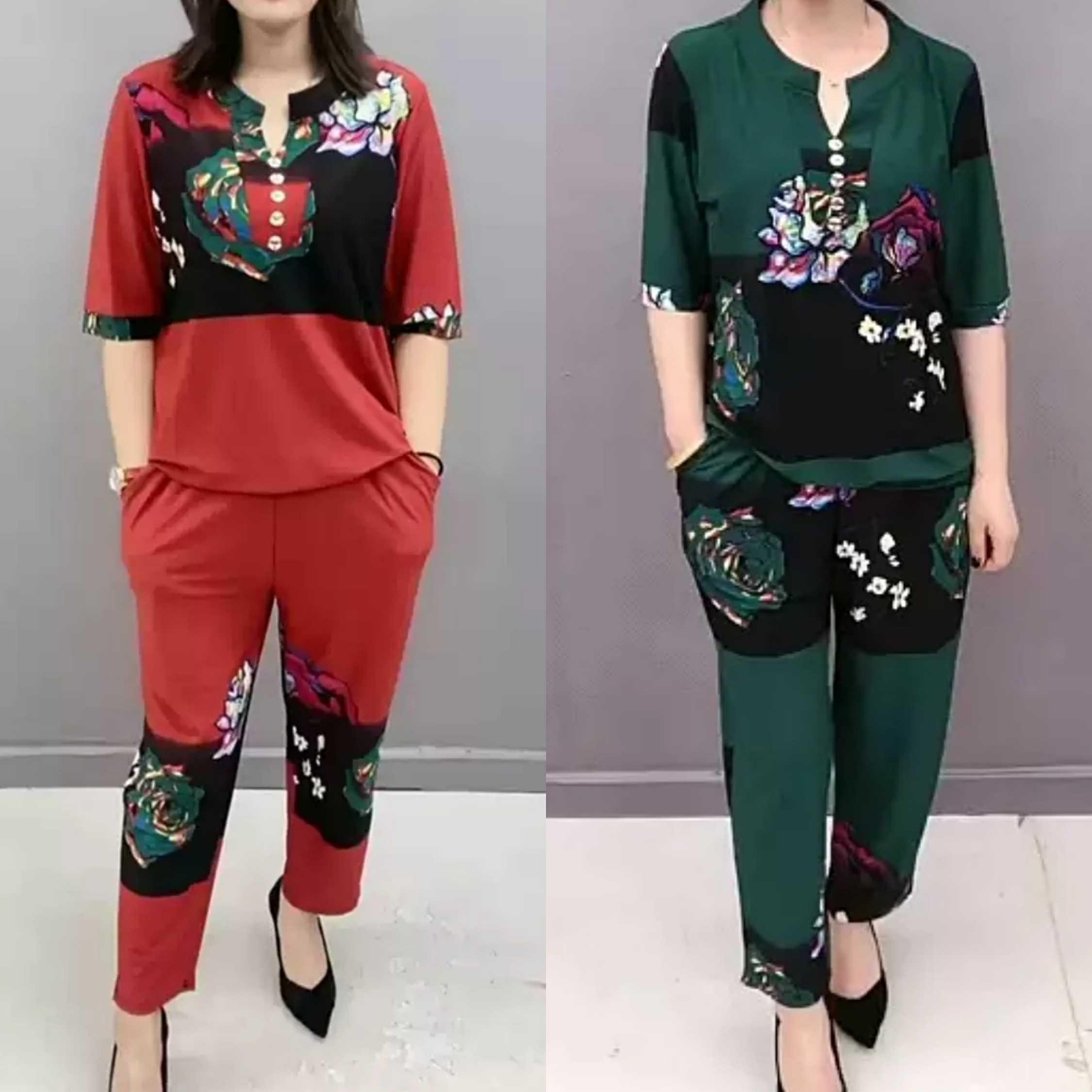 2020夏季新款时尚女装s2207休闲服饰两件套套装女