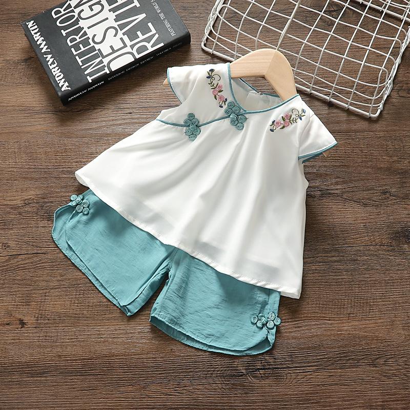 2019新款女童套装汉服两件套女宝宝中国风短袖短裤夏款洋气套装潮(用1元券)