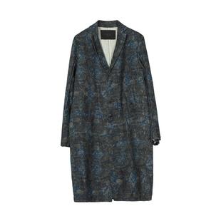 速寫男裝秋冬款滿印印花男士休閒風衣外套時尚潮9H8222810