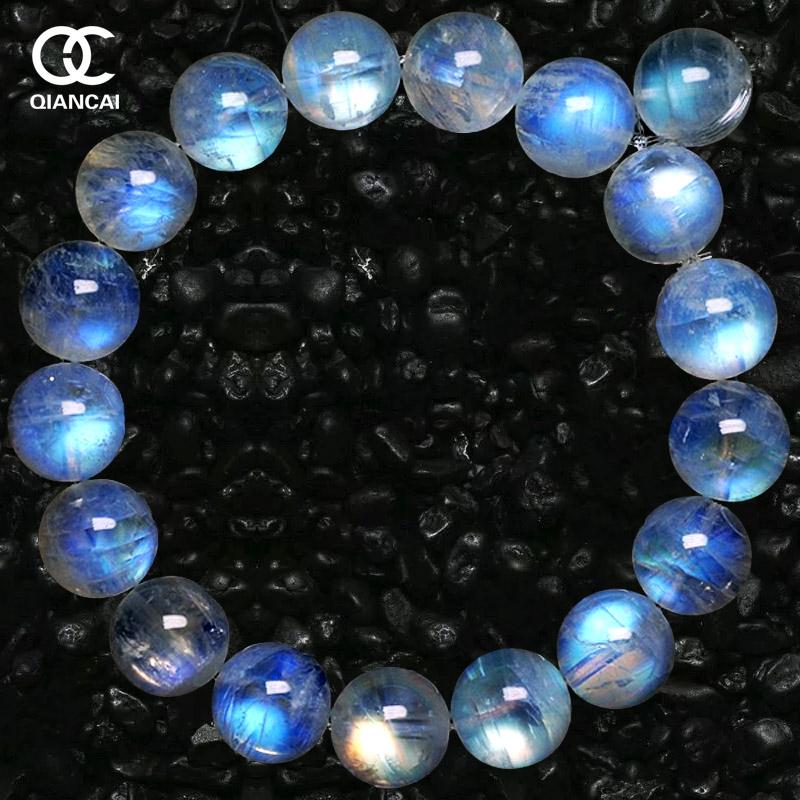 包邮天然水晶 玻璃体蓝月光石手链 冰种彩虹光女款手串 带证书包邮