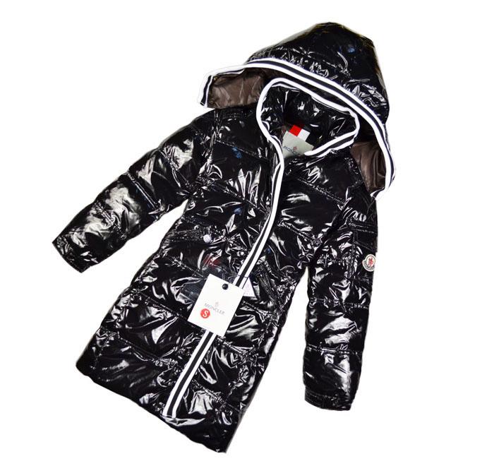 Девушки вниз куртка длинный черный ультра тонкие и легкие дети вниз куртки пальто разгрузка шляпу лакированный глянцевый