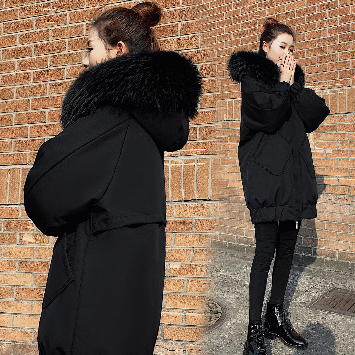 2019 winter new mid long Korean thickened large wool collar down jacket womens black cocoon loose fashion coat