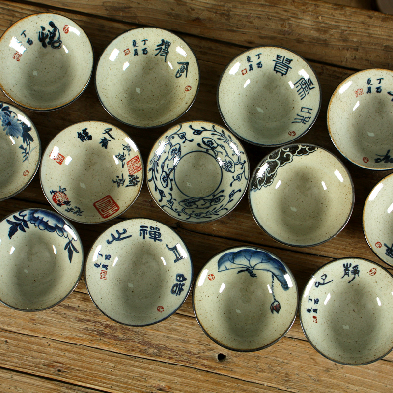 Yizi pottery kungfu tea set rough pottery tea cup hand painted blue and white famous calligraphers bamboo hat cup antique small tea cup