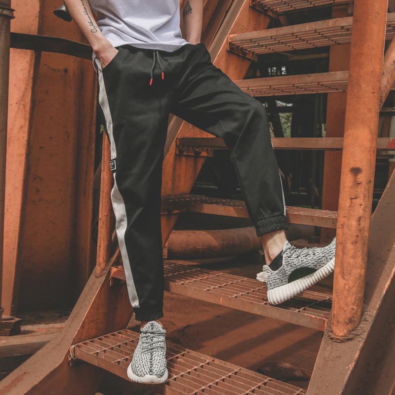 日系秋装白边束脚工装裤撞色运动裤男收口休闲裤九分裤小脚裤男潮