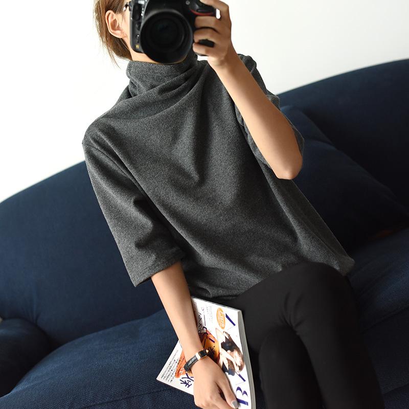 上一个实穿走量款  深灰色磨毛 五分袖中袖长袖女士宽松T恤堆堆领