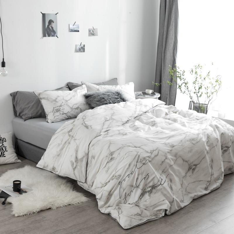 弥生全棉四件套北欧简约大理石纹纯棉床单床笠字母刺绣床上用品