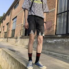 ins夏季2019男士破洞牛仔短褲直筒網紅時尚潮流五分褲