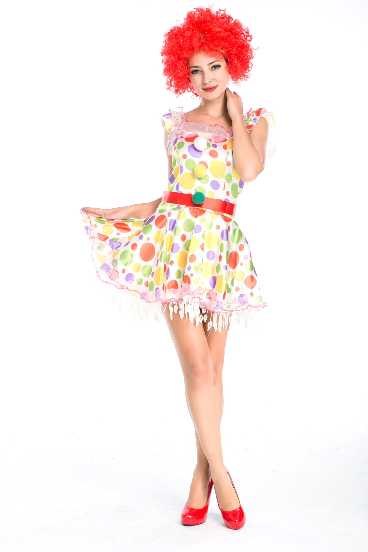 Cartoon costume with wig circus clown role play costume Dinis cosplay costume Halloween Costume