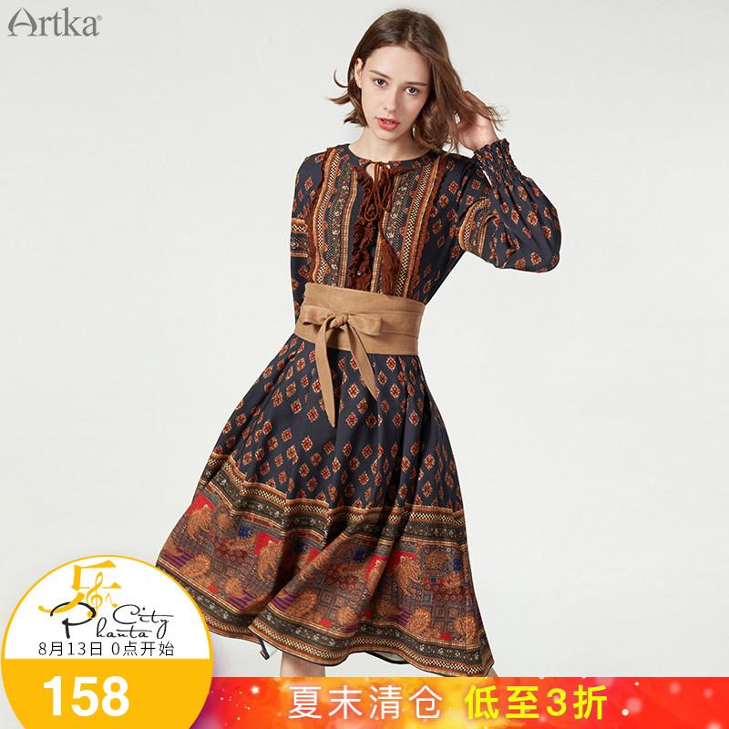 Artka阿卡早夏新品定位裁剪拼接花边复古民族连衣裙女LA10178