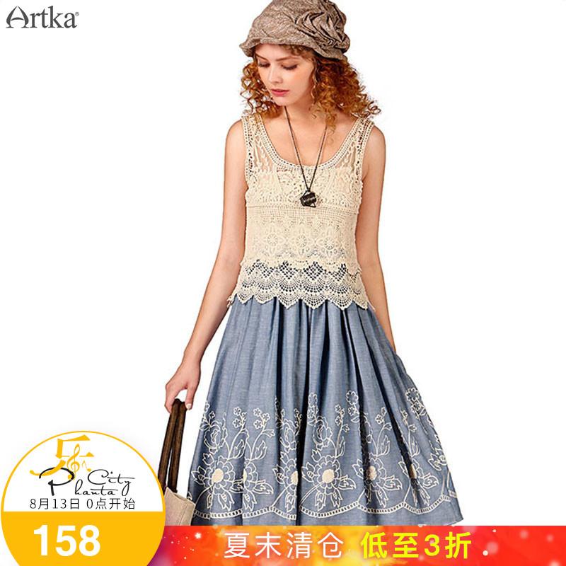 Artka阿卡夏装新款女装棉钩花镂空两件套大摆无袖连衣裙L114651X