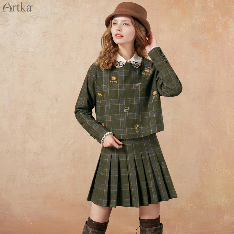 Aka Hitz embroidered coat plaid skirt two piece suit female Autumn Age ZA10072D