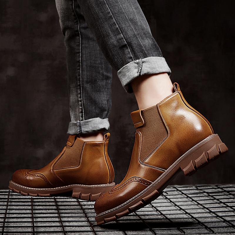 英伦风中帮高帮真皮鞋男鞋牛皮靴工装短靴欧美百搭美式马丁男靴子