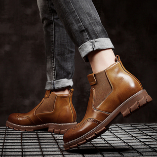 英伦风中帮高帮真皮鞋男鞋牛皮靴工装短靴布洛克美式潮马丁男靴子价格