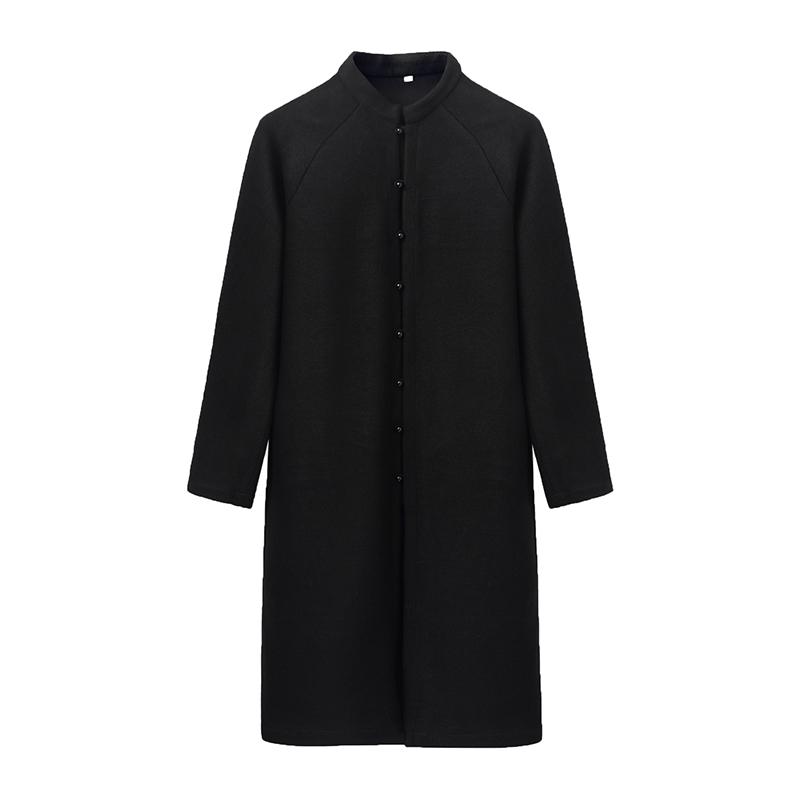 黑玛瑙男款毛呢大衣中国风中长款复古文艺纯黑色-可手绘情侣款