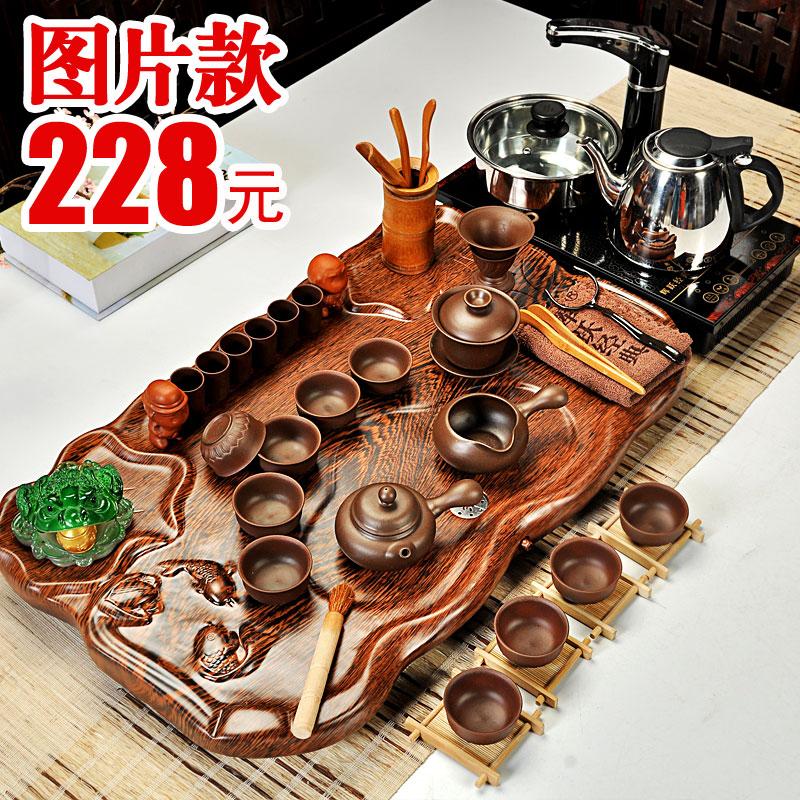 輝躍 茶具套裝功夫茶具 汝窯整套紫砂茶具電磁爐科技木茶盤