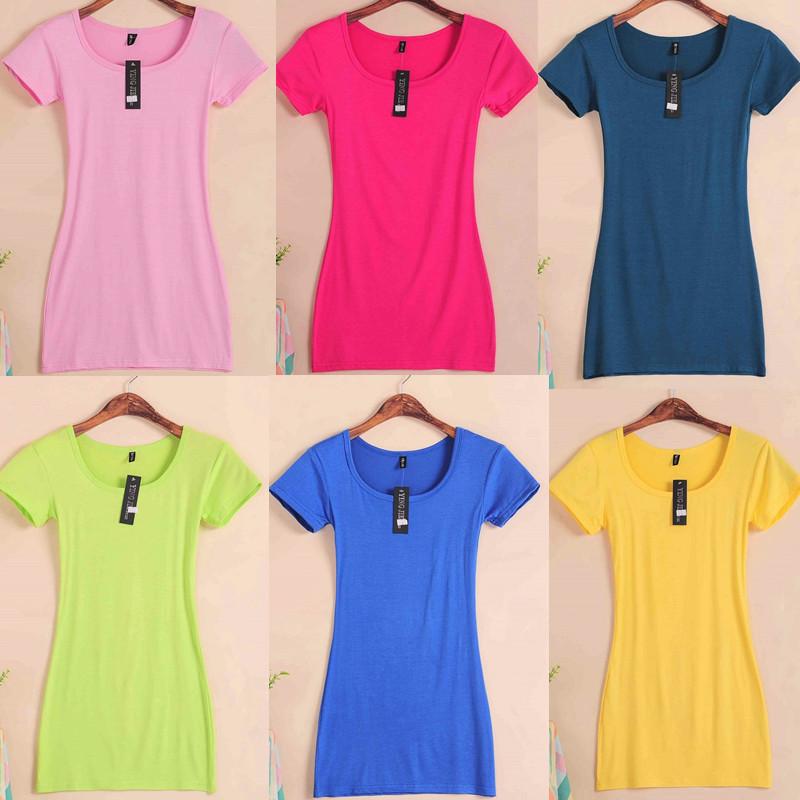 夏季女装莫代尔韩版修身纯色简约上衣百搭显瘦中长款短袖t恤女