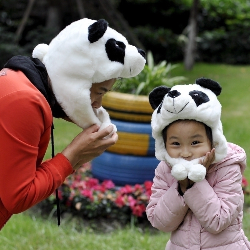 纪念礼品冬季加厚熊猫帽子卡通毛绒儿童帽韩版可爱保暖情侣护耳帽