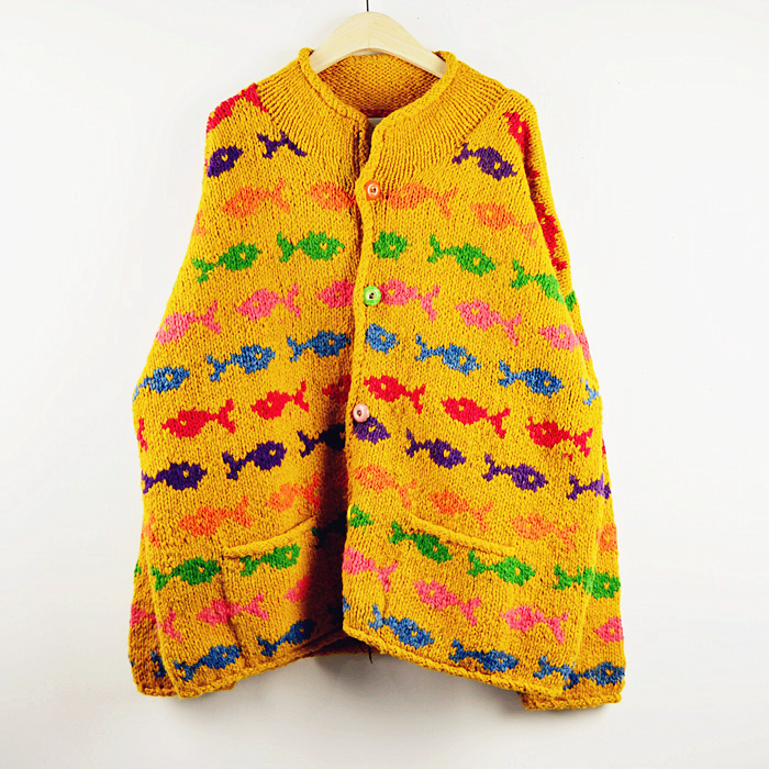 Pure wool hand woven thick thread small fish pattern retro loose sweater coat made in Bolivia