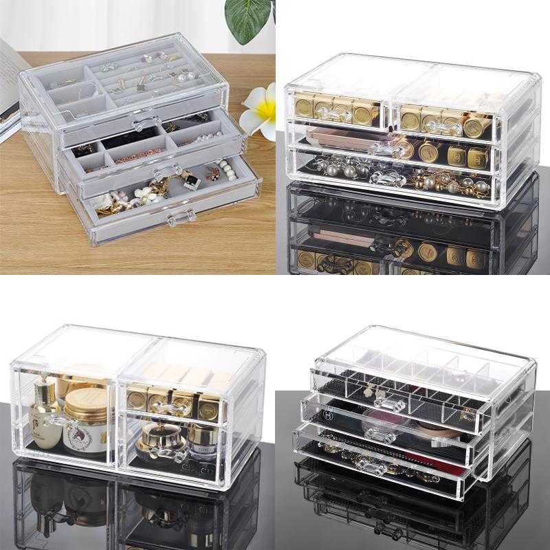 透明化妆品化妆盒 亚克力抽屉式桌面整理盒 首饰项链珠宝收纳盒