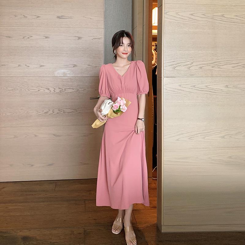 岛歌夫人 长裙显瘦显高气质泡泡袖长款连衣裙V领2020年新款女夏天